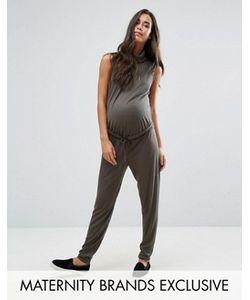 Missguided Maternity   Свободный Комбинезон Для Беременных С Высоким Воротом В Рубчик