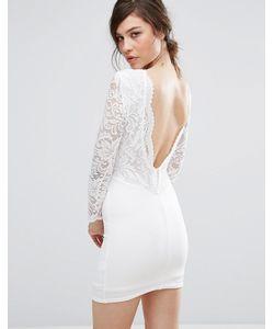 TFNC | Платье Мини С Кружевной Вставкой И Фигурной Отделкой На Спине