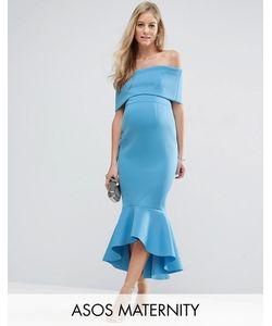 ASOS Maternity | Платье Миди С Широким Отворотом И Баской Premium