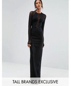 Taller Than Your Average | Черное Платье Макси С Длинными Рукавами И Сетчатыми Вставками Ttya Seredo