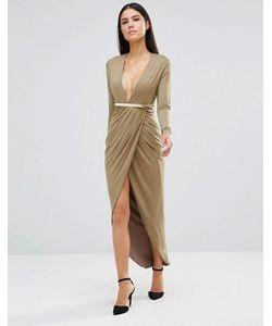 Rare | Платье Миди С Длинными Рукавами И Декольте