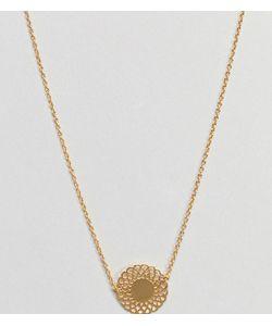 Asos   Ожерелье Из Позолоченного Серебра С Филигранной Подвеской-Диском