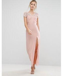 Elise Ryan | Кружевное Платье Макси С V-Образным Вырезом Сзади
