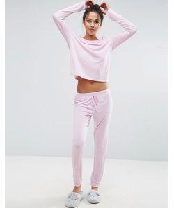 Asos | Пижамный Комплект Розового Цвета С Лонгсливом И Джоггерами