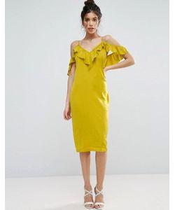 Asos | Атласное Платье Миди С Оборкой