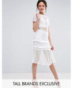 True Decadence Tall | Кружевное Платье С Вырезами И Оборкой На Подоле