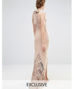 JARLO   Свадебное Кружевное Платье Макси С Высокой Горловиной И Бантом Сзади
