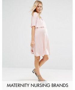Bluebelle Maternity | Двухслойное Приталенное Платье Для Беременных Nursing