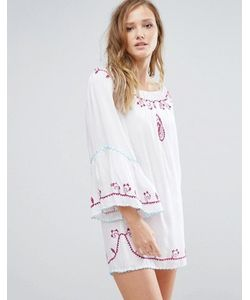 Anmol | Пляжное Платье Мини С Открытыми Плечами И Отделкой