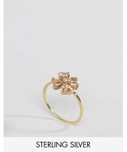 Asos | Позолоченное Серебряное Кольцо С Цветком