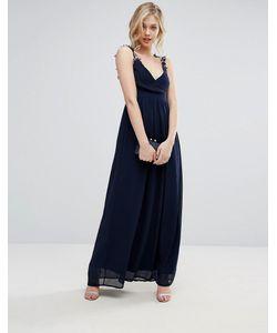 Club L | Плиссированное Платье Макси С Ажурными Бретельками