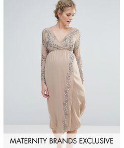 Maya Maternity | Декорированное Платье Миди С Запахом
