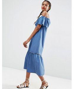 Asos | Джинсовое Платье Макси С Открытыми Плечами И Оборками