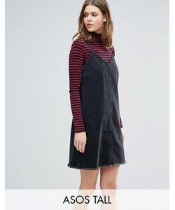 ASOS TALL   Черное Выбеленное Джинсовое Платье-Комбинация С Необработанным Краем