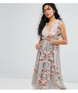 Amelia Rose | Платье Миди В Винтажном Стиле С Вышивкой И Объемной Аппликацией Amelia