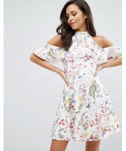 Miss Selfridge | Платье С Цветочным Принтом Оборкой И Открытыми Плечами