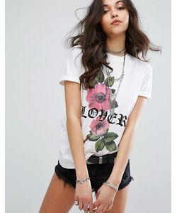 MISSGUIDED | Lover Slogan Rose Print T-Shirt
