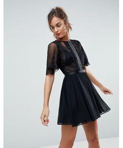 Asos | Платье Мини Из Ткани Добби С Расклешенными Рукавами И Отделкой На
