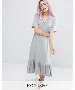Monki   Платье С Контрастной Отделкой И Оборкой По Краю
