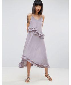Asos | Выбеленное Двухслойное Платье Макси С Оборками