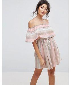 Asos | Пляжное Платье В Полоску С Открытыми Плечами