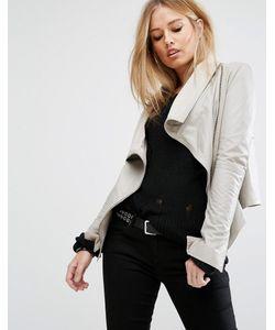 Muubaa | Асимметричная Кожаная Куртка С Воротником-Труба