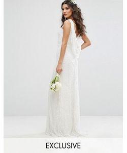 Amelia Rose | Свадебное Платье Макси С Драпированным Вырезом На Спине И Отделкой Amelia