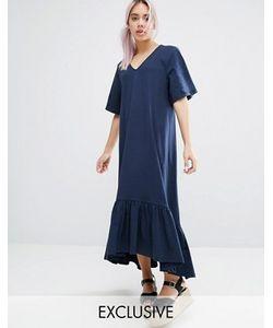 Monki   Платье С Оборкой И V-Образным Вырезом