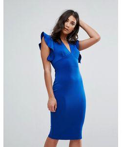 Club L | Облегающее Платье С V-Образным Вырезом И Рюшами