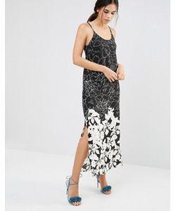 Daisy Street   Tрапециевидное Черно-Белое Платье Макси С Цветочным Узором