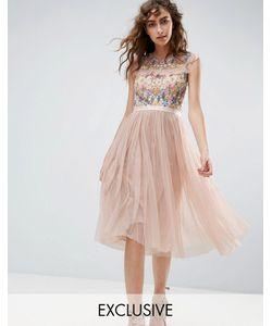 Needle & Thread | Приталенное Платье Миди С Цветочной Вышивкой Needle And Thread