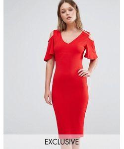 Club L | Платье Миди С Вырезами На Плечах И Рюшами