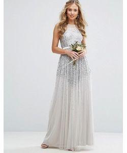 Amelia Rose | Сетчатое Платье Макси С Отделкой Пайетками