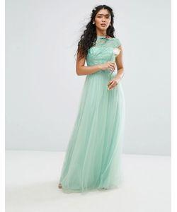 Chi Chi London | Премиум-Платье Макси С Кружевом И Юбкой Из Тюля