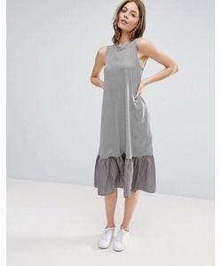 Asos | Платье Миди В Полоску С Контрастной Оборкой По Краю