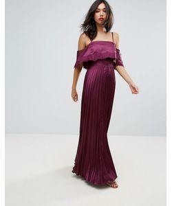 Asos | Атласное Плиссированное Платье С Кружевной Отделкой