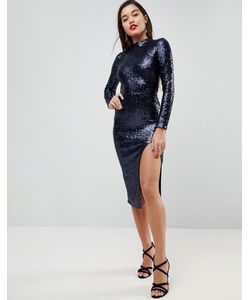 Asos   Платье Миди С Открытой Спиной Высоким Воротом И Пайетками