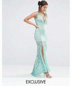 Love Triangle | Кружевное Платье Макси С Глубоким Вырезом И Решетчатой Отделкой