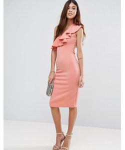 Rare | Платье Миди На Одно Плечо С Оборками