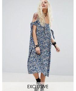 Reclaimed Vintage | Платье Миди С Открытыми Плечами На Завязках Reclaimed