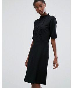 b.young | Платье С Высокой Горловиной И Кружевной Вставкой