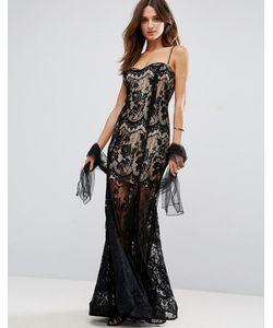 FOREVER UNIQUE   Полупрозрачное Кружевное Платье Макси