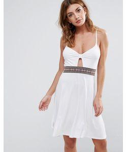 boohoo | Пляжное Платье С Ремешками И Перекрученной Отделкой Спереди