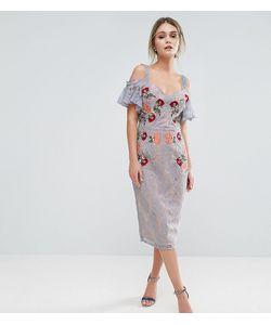 Hope and Ivy | Кружевное Платье Миди С Вышивкой Контрастными Бретельками И Завязками На Плечах