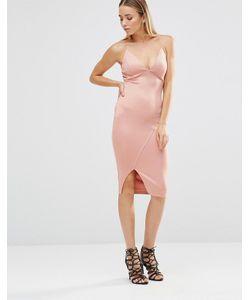 AX Paris | Облегающее Платье Миди С Глубоким Вырезом И Разрезом