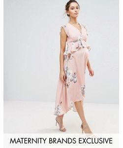 Hope and Ivy Maternity | Платье Миди Асимметричной Длины С Принтом Птиц Hope Ivy Maternity