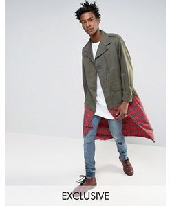 Reclaimed Vintage | Куртка В Стиле Милитари Со Вставкой Тартан