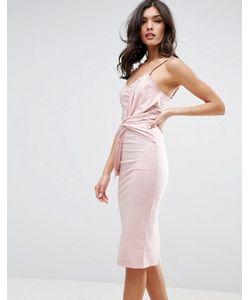 Asos | Облегающее Платье Миди С Большим Бантом Спереди