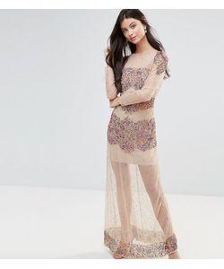 Maya Petite   Декорированное Платье Макси Из Сетки