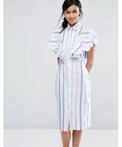 Closet London | Платье-Рубашка В Полоску С Оборкой